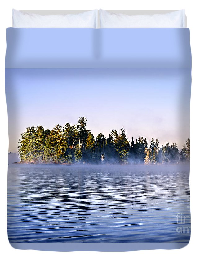 Island Duvet Cover featuring the photograph Island In Lake With Morning Fog by Elena Elisseeva