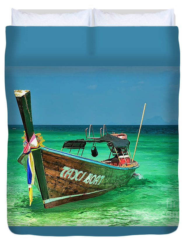 Asia Duvet Cover featuring the photograph Island Taxi by Adrian Evans