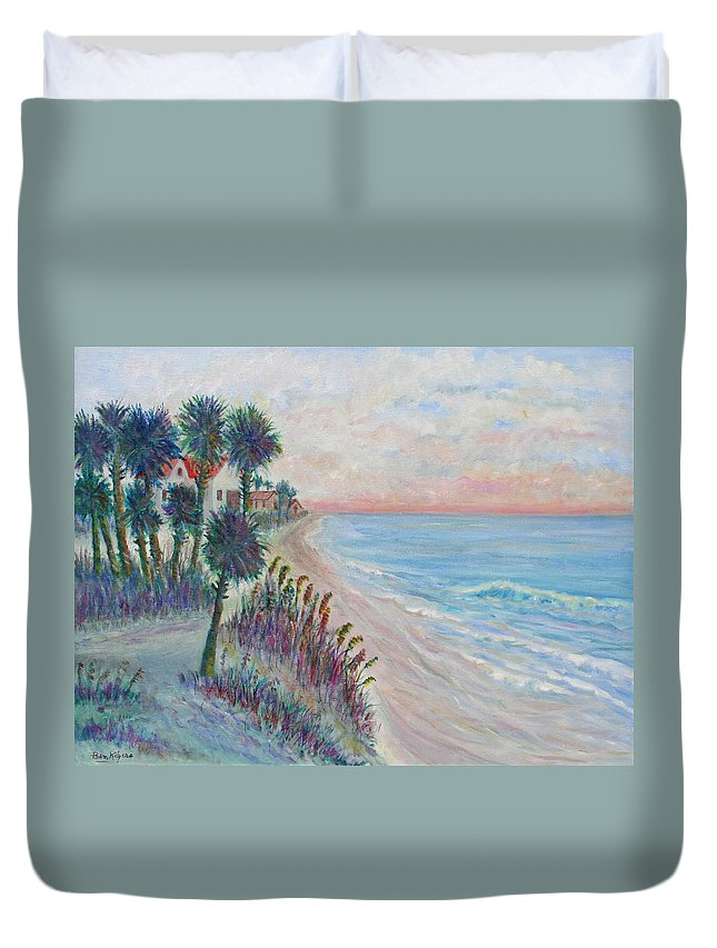 Seascape Duvet Cover featuring the painting Isle of Palms by Ben Kiger