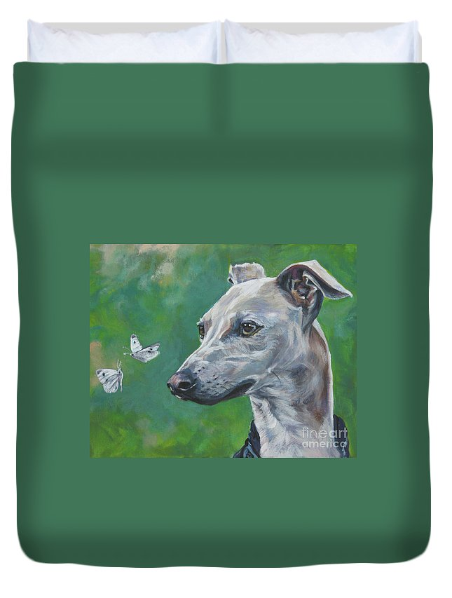 Italian Greyhound Duvet Cover featuring the painting Italian Greyhound With Cabbage White Butterflies by Lee Ann Shepard
