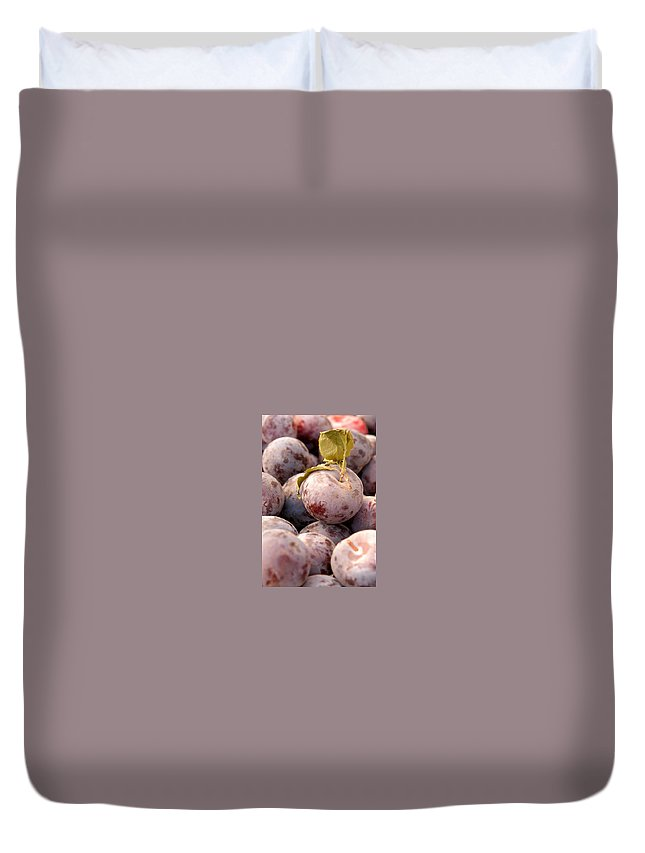 Agriculture Duvet Cover featuring the photograph Italian Plums At Market by Jeelan Clark