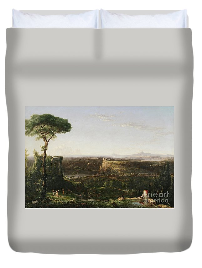 Italianate; Landscape; Classical; Ruin; Ruins; Archeological; Countryside; Rural; Roman; Umbrella Pine Tree; Cypress Trees; Rustic; Figure; Figures; Dance; Dancer; Dancers; Dancing; Utopian; Hudson River School; Cole Duvet Cover featuring the painting Italian Scene Composition by Thomas Cole