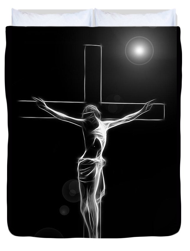 Crucified Jesus Life Faith Believe Christian Church Cross Forgiveness Resurrection Bible Eternity Glow Glowing Abstract Digital Painting Expressionism Impressionism Sin Father Holy Spirit God Maria Stigmata Crown Thorn Thorns Suffering Death Consummatum Est Duvet Cover featuring the digital art Its Accomplished by Steve K