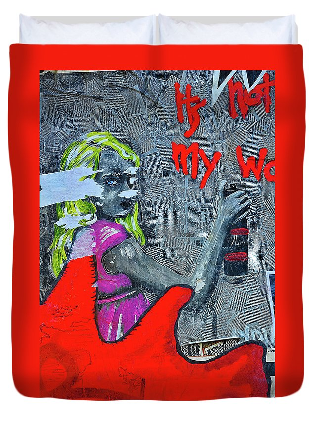 Street Photographs Duvet Cover featuring the photograph It's Not My Work by Harry Spitz