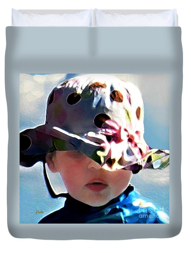 Little Girl Duvet Cover featuring the digital art It's Not The Hat But How You Wear It by Dale  Ford