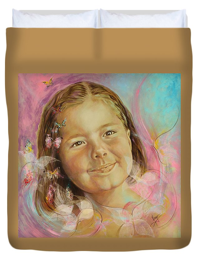 Portrait Duvet Cover featuring the painting Ivana's Portrait by Karina Llergo