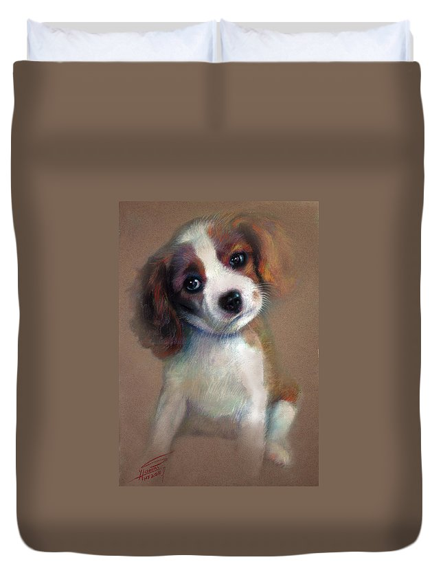 Jack Russell Terrier Dog Duvet Cover featuring the pastel Jack Russell Terrier Dog by Ylli Haruni