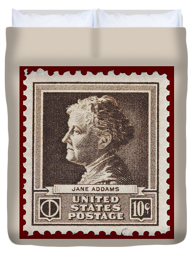 Jane Addams Postage Stamp Duvet Cover featuring the photograph Jane Addams Postage Stamp by James Hill