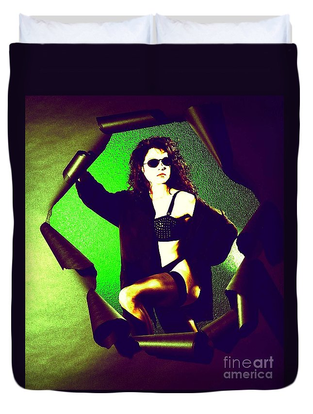 Model Duvet Cover featuring the photograph Jane Joker 2 by Gary Gingrich Galleries