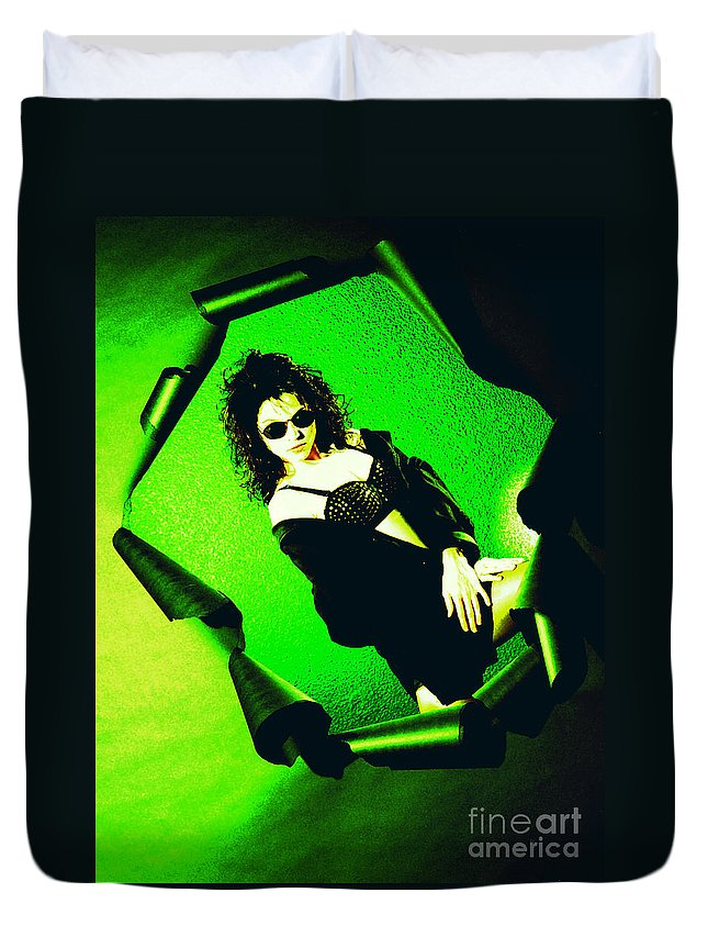 Model Duvet Cover featuring the photograph Jane Joker 3-2 by Gary Gingrich Galleries