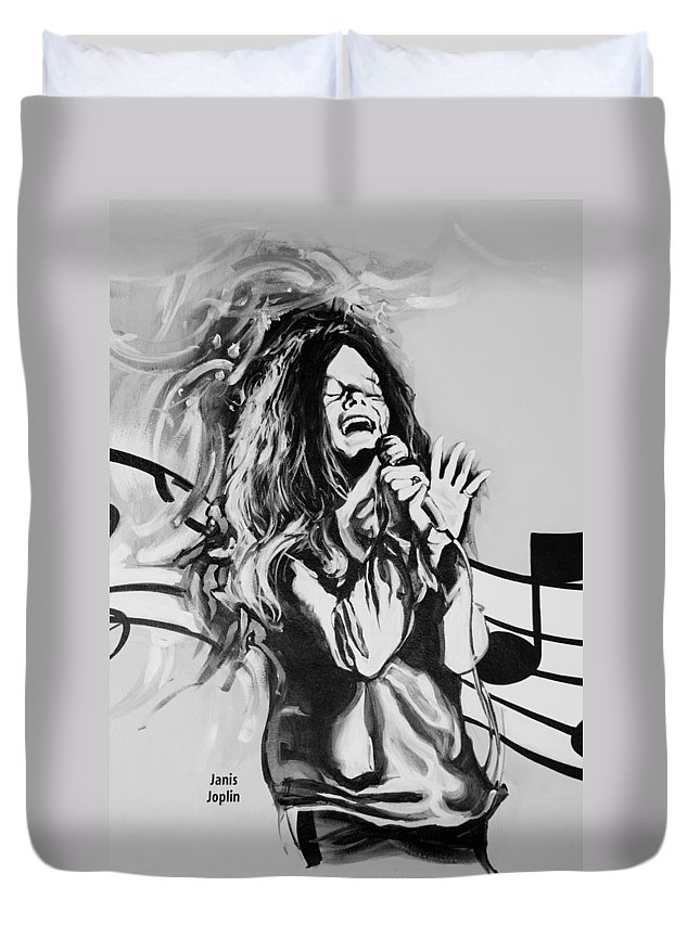 Janis Joplin Duvet Cover featuring the photograph Janis In Black And White by Rob Hans