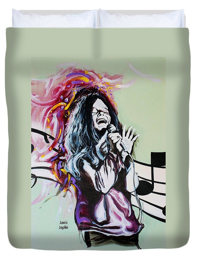 Janis Joplin Duvet Cover featuring the photograph Janis by Rob Hans