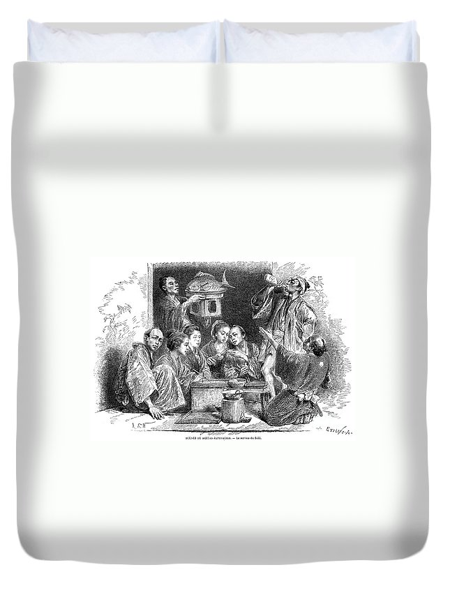 1869 Duvet Cover featuring the photograph Japan: Sake, 1869 by Granger