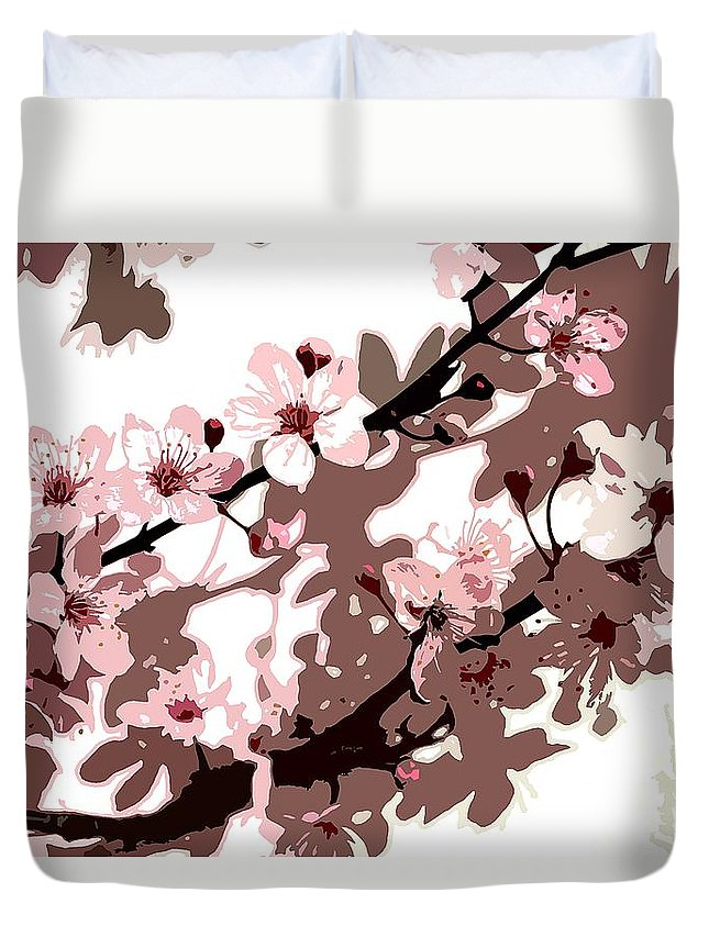 Climbing; Creeper; Flowers; Pink; Flower; Cherry; Cherries; Climb: Japanese Blossom Duvet Cover featuring the painting Japanese Blossom by Sarah O Toole