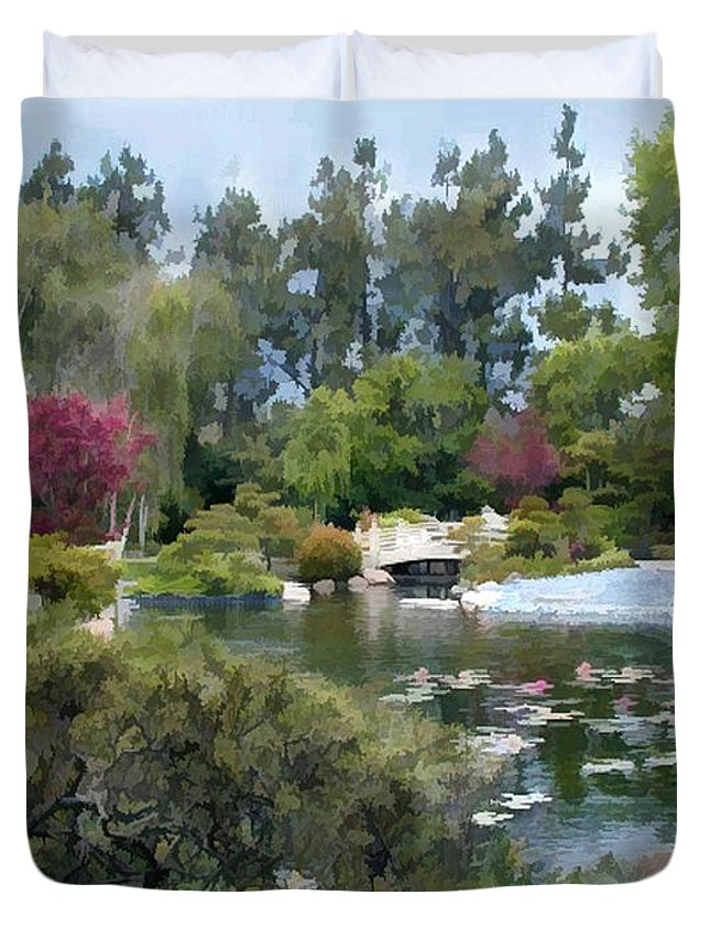 Japanese Garden Duvet Cover featuring the painting Japanese Garden Panorama 1 by Elaine Plesser
