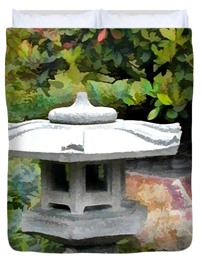 Japanese Garden Duvet Cover featuring the painting Japanese Garden Stone Snow Lantern by Elaine Plesser