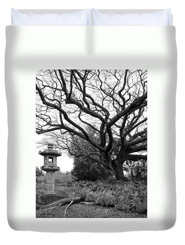 Hawaii Duvet Cover featuring the photograph Japanese Lantern And Tree - Liliuokalani Park - Hilo Hawaii by Daniel Hagerman