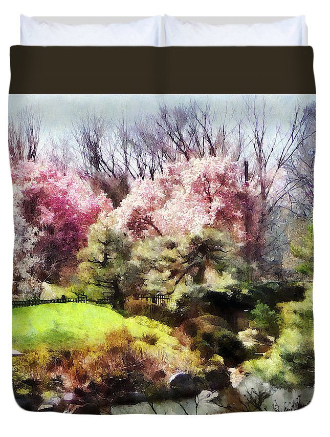 Japanese Garden Duvet Cover featuring the photograph Japanese Spring by Susan Savad