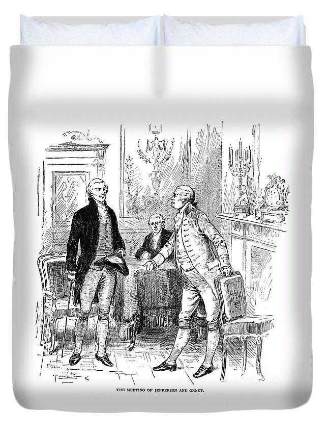 1793 Duvet Cover featuring the photograph Jefferson & Genet, 1793 by Granger