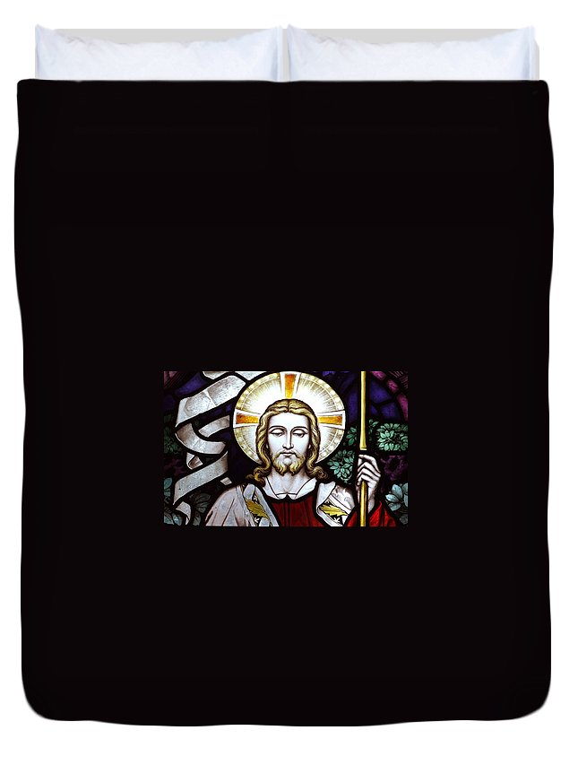 Jesus Duvet Cover featuring the photograph Jesus Close Up Stained Glass by Munir Alawi
