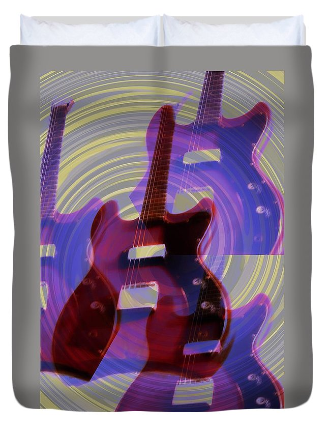 Guitar Duvet Cover featuring the photograph Jet Screamer - Guild Jet Star by Bill Cannon