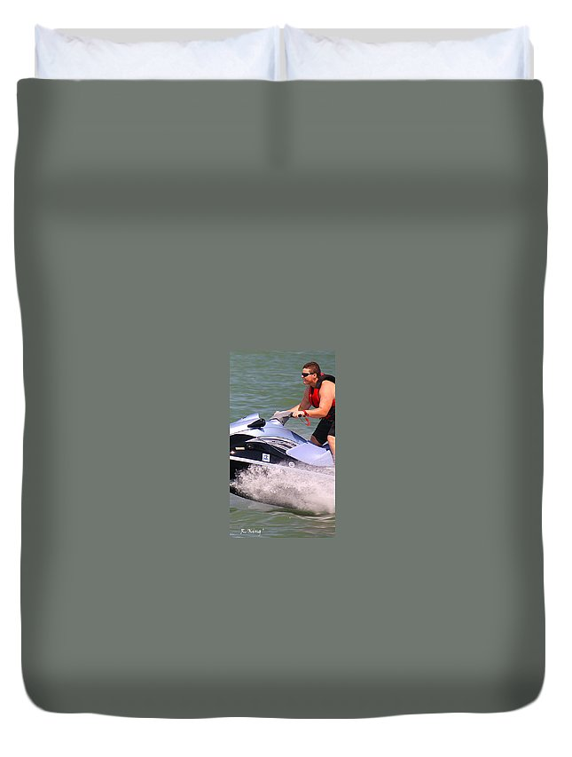 Roena King Duvet Cover featuring the photograph Jet Ski Speed by Roena King