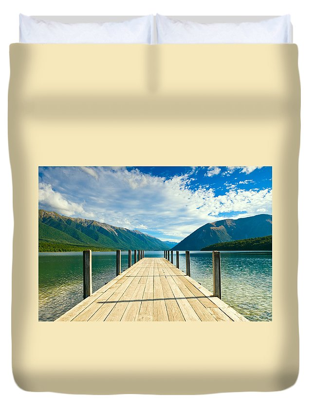 Amazing Duvet Cover featuring the photograph Jetty Of A Beautiful Lake by U Schade