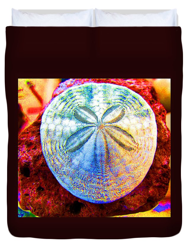 Sand Dollar Duvet Cover featuring the photograph Jeweled Sand Dollar by Marie Jamieson