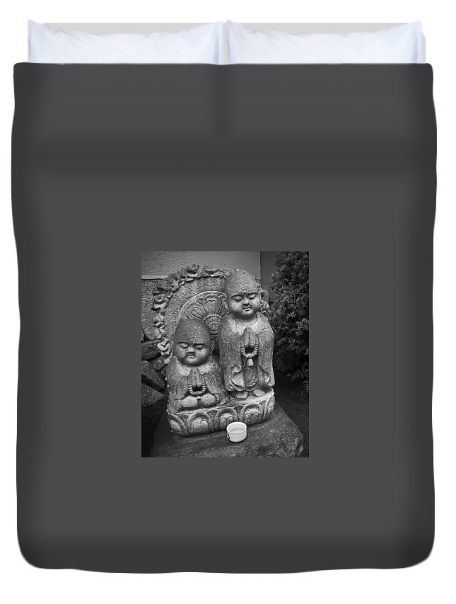 Japan Duvet Cover featuring the photograph Jizo Bodhisattva Deities- Daitoku-ji Temple Japan by Daniel Hagerman