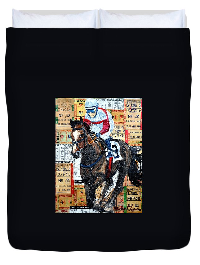 Horse Duvet Cover featuring the painting Jocky 3 by Michael Lee
