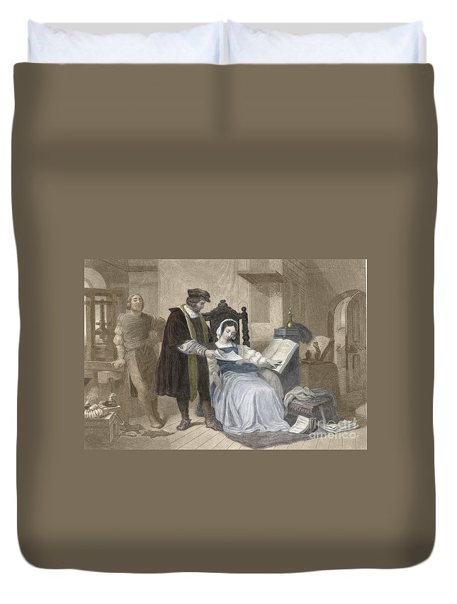 History Duvet Cover featuring the photograph Johannes Gutenberg, German Inventor by Science Source