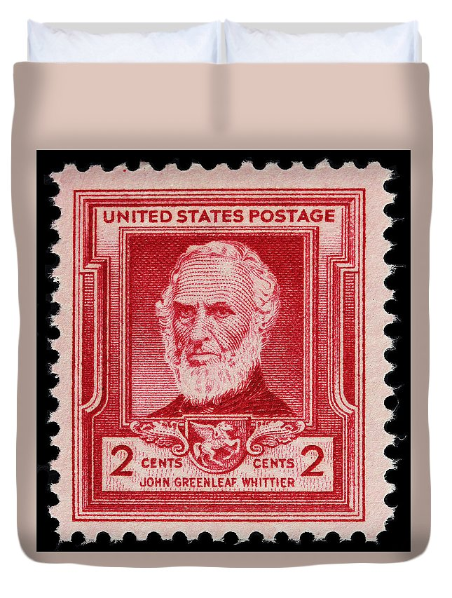 John Greenleaf Whittier Postage Stamp Duvet Cover featuring the photograph John Greenleaf Whittier Postage Stamp by James Hill