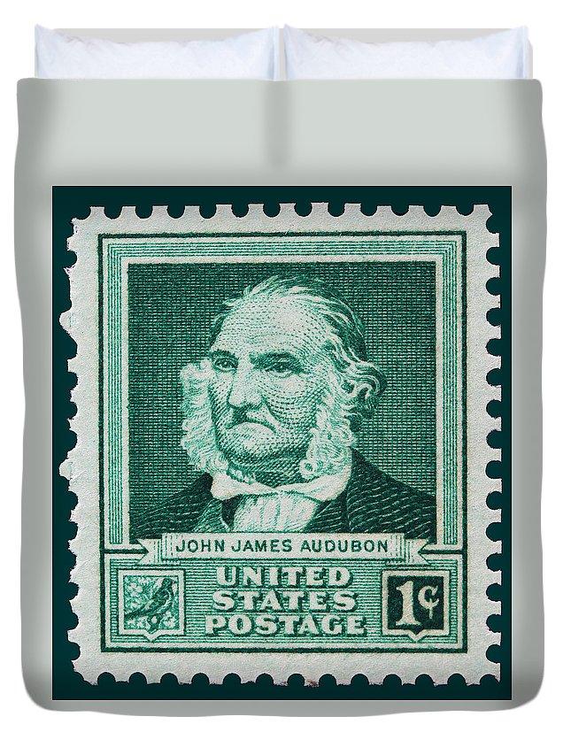 John James Audubon Postage Stamp Duvet Cover featuring the photograph John James Audubon Postage Stamp by James Hill