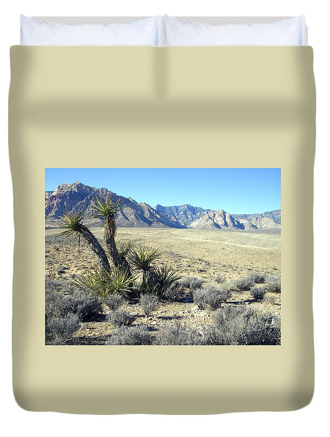 Joshua Tree Duvet Cover featuring the photograph Joshua Tree And Mount Wilson by Frank Wilson