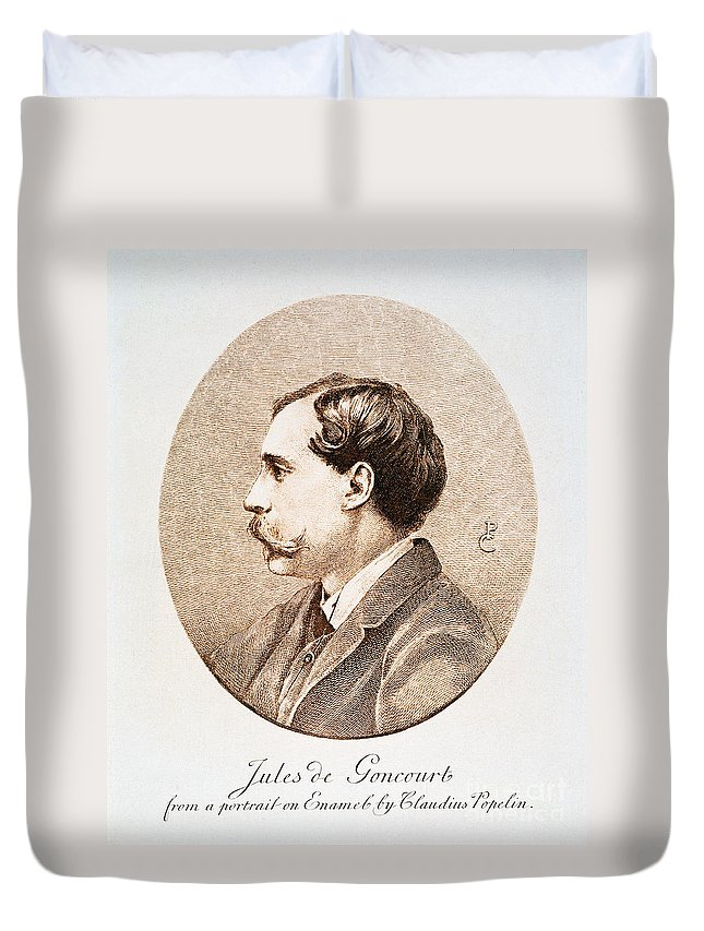 19th Century Duvet Cover featuring the photograph Jules A.h. De Goncourt (1830-1870). French Novelist: Engraving After A Contemporary Portrait On Enamel by Granger
