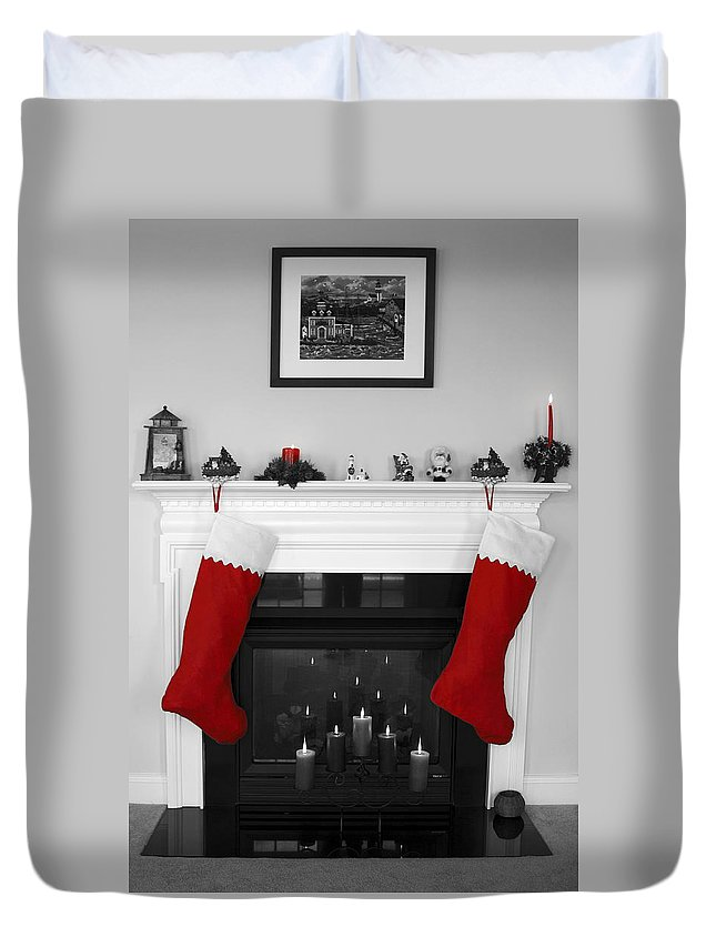 Fireplace Duvet Cover featuring the photograph Jumbo Red Stockings by Sally Weigand