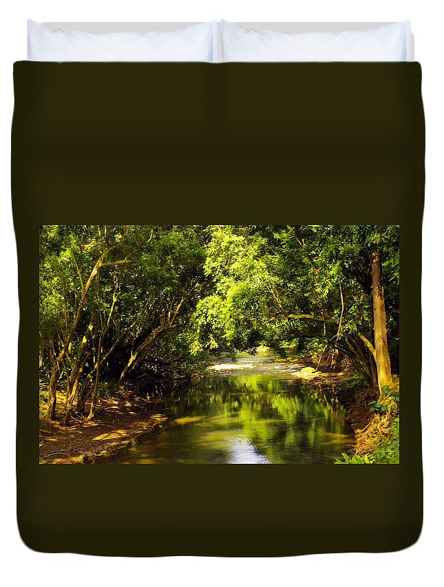 Secret Falls Duvet Cover featuring the photograph Jungle Stream Below The Secret by John Greaves