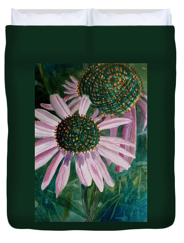 Flowers In Art Duvet Cover featuring the painting Just The Two Of Us by Diane Elgin