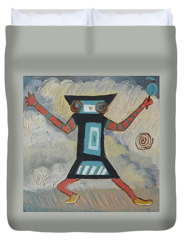 Native American Duvet Cover featuring the painting K Is For Kachina Detail From Childhood Quilt Painting by Dawn Senior-Trask