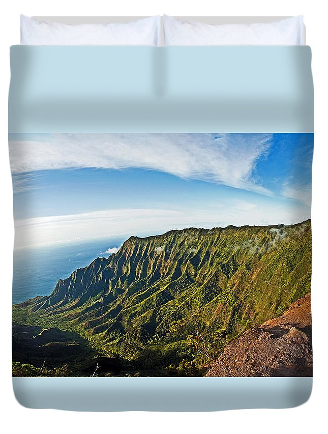 Kauai Duvet Cover featuring the photograph Kaulalu Panorama by Roger Mullenhour
