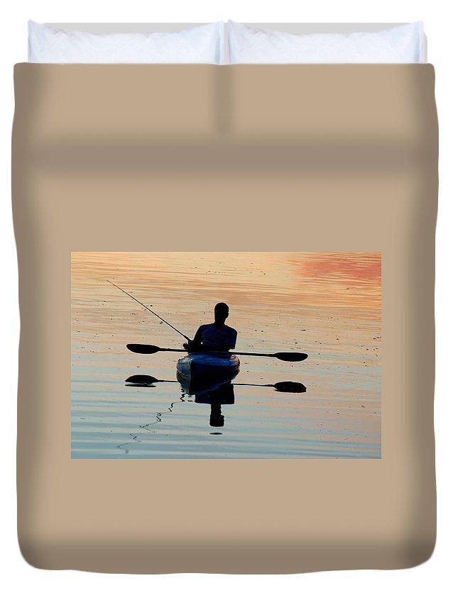 Salt River Duvet Cover featuring the photograph Kayak Fisherman by Tam Ryan