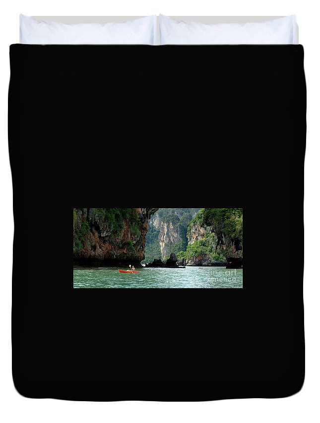 Phuket Duvet Cover featuring the photograph Kayaking In Thailand by Bob Christopher