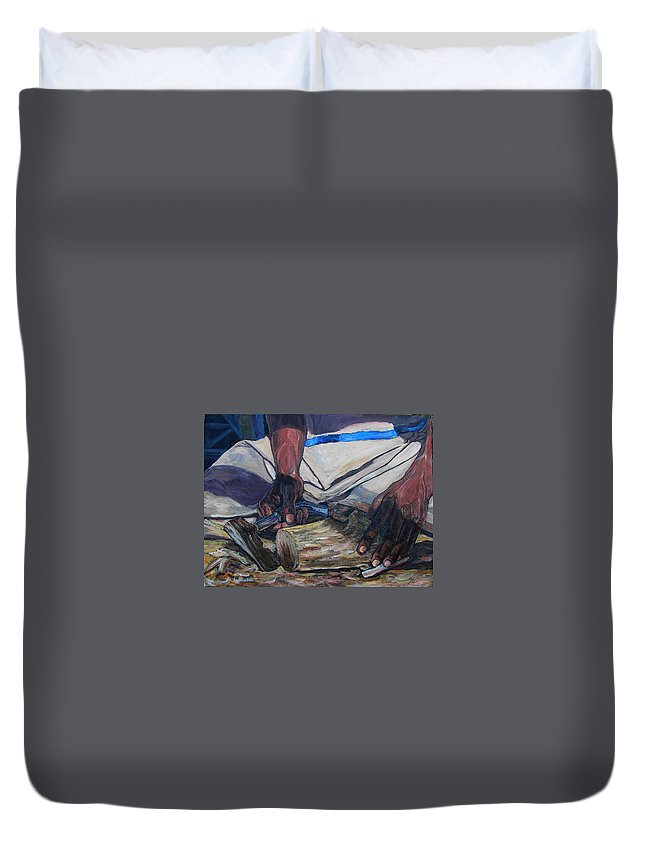 Acrylic Duvet Cover featuring the painting Kenny's Hands by Li Newton