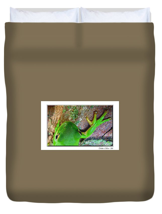 Nature Duvet Cover featuring the photograph Kermit's Kuzin by Debbie Portwood