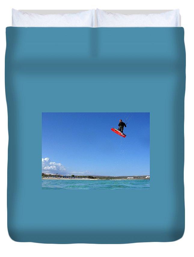 Adventure Duvet Cover featuring the photograph Kiesurfing by Stelios Kleanthous