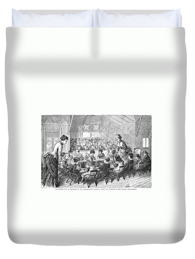 1876 Duvet Cover featuring the photograph Kindergarten, 1876 by Granger