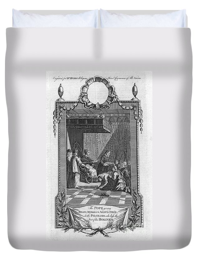 18th Century Duvet Cover featuring the photograph Kissing The Popes Feet by Granger