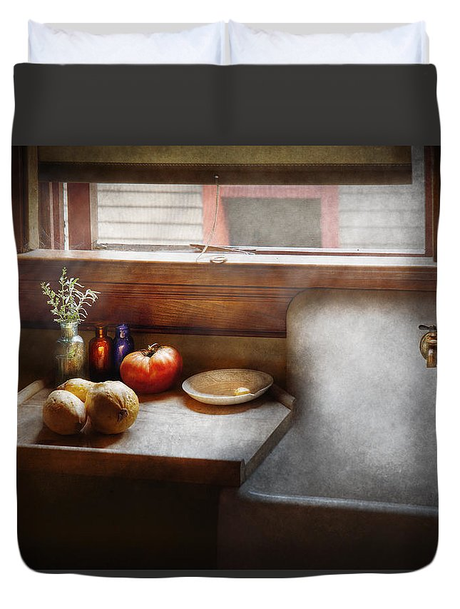 Hdr Duvet Cover featuring the photograph Kitchen - Sink - Farm Kitchen by Mike Savad