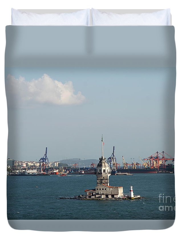 Leander Tower Duvet Cover featuring the photograph Kiz Kulesi - Leander Tower Istanbul by Christiane Schulze Art And Photography