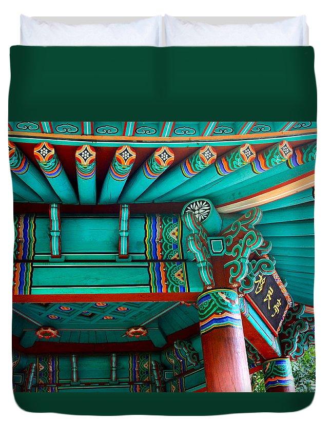 Korea Duvet Cover featuring the photograph Korean Pagoda Detail by Karon Melillo DeVega